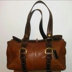 Authentic coach brown on Brown leather handbag
